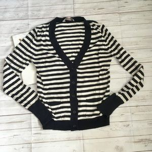 loft womens s navy cream striped cardigan sweater